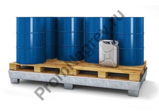 Опасный груз  на сточном поддоне из оцинкованной стали на восемь бочек с решёткой