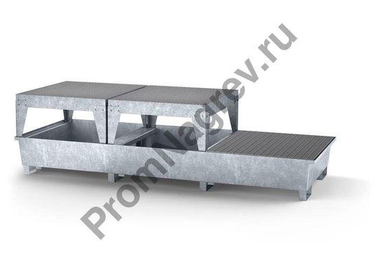 Поддон оцинкованный стальной классический, 2 зоны фасовки, 1 решётка на 3 евроконтейнера.