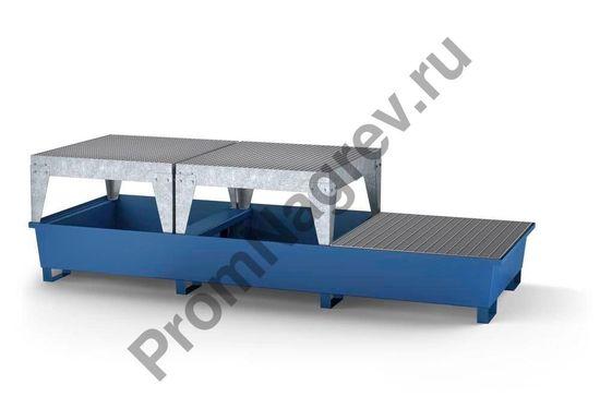 Поддон стальной классический, 2 зоны фасовки, 1 решётка на 3 евроконтейнера.