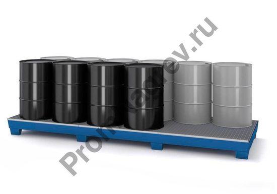 Опасный груз на поддоне стальном, вместимостью до 12 бочек,  с решеткой и ножками