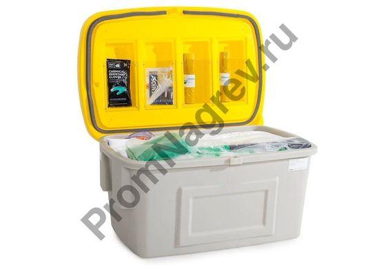 Набор в защитной коробке, полностью укомплектованный сорбирующим материалом, предназначенным для ликвидации 400 литров.