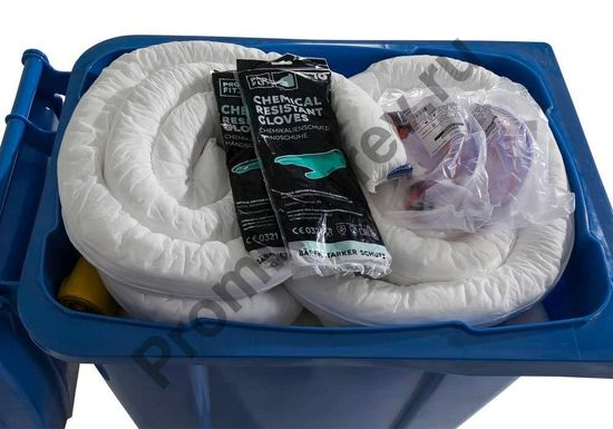 Содержимое (перчатки, рулоны, подушки и матрасы впитывающие) контейнера на 360 литров мобильного передвижного на колёсиках.