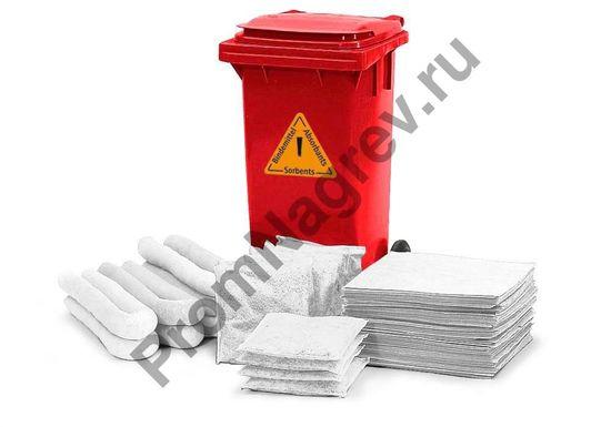 Аварийный набор: сорбенты в красном передвижном контейнере В 12  (масло/нефть).