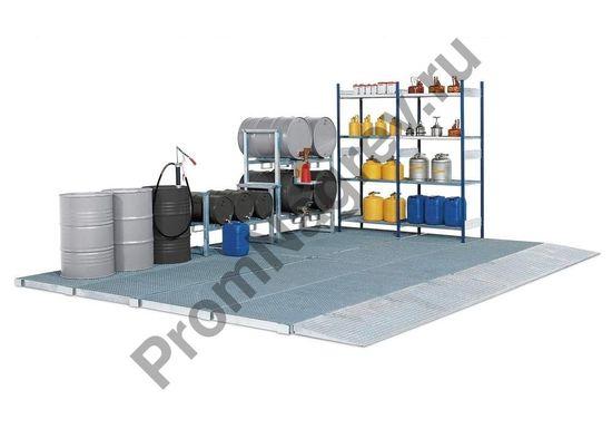 Напольный большой поддон-платформа, стальной, оцинкованный, имеется решетка, колёсная нагрезка 2000 кг, 2862x1862x78 мм