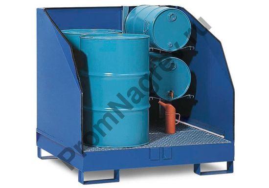 Хранилище опасных веществ 4 GST-K из стали с полками для горизонтального хранения 2 маленьких бочек (общая вместимость 2 бочки по 200 литров и 2 бочки по 60 литров).