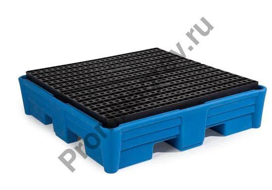 Полимерный поддон классический на 4 бочки, пластиковые корпус и решётка, 1330x1330x320.