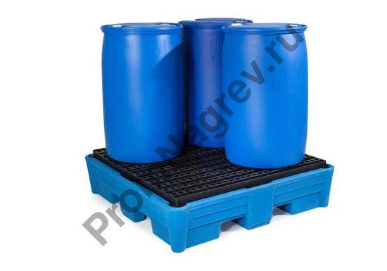 Полимерный поддон из классической серии, приспособленный под хранение до 4 бочек по 200 л, решётка и корпус полиэтиленовые, штабелируемый.