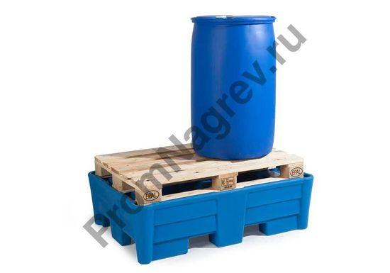 Поддон, материал -полиэтилен (РЕ), на 2 бочки, подходит под паллет, совместим с автопогрузчиком.