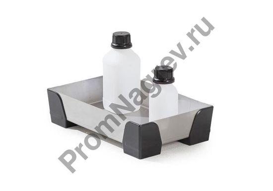 Лоток из нержавейки с пластиковыми уголками, решётки нет, на пять литров, 250x400x95.