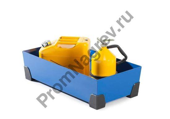 Пример того, как хранится тара в лотке, с уголками из пластмассы, 40 литров объём.