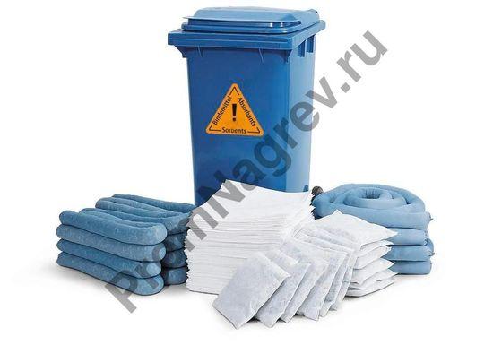 Аварийный набор необходимых сорбентов в синем контейнере на 120-литров, рулоны, подушки и матрасы впитывающие.