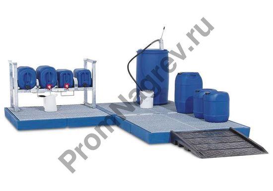 Напольный синтетический поддон-платформа, с оцинкованной решеткой, 790x1500x150 мм, колёсная нагрузка до 150 кг.