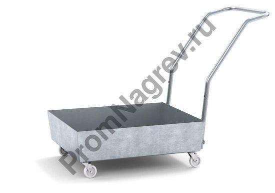 Оцинкованный поддон на колесиках под шестидесяти литровую бочку, отсутствует решётка.
