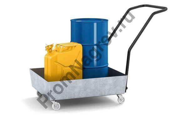 Оцинкованный поддон на колесиках под шестидесяти литровую бочку, без решётки, везёт бочки к месту применения.