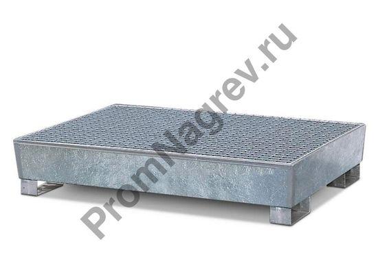 Поддон на 4 бочки прямой с решёткой, оцинкованная сталь, под 4 бочки.