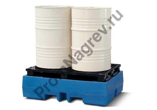 Пластиковый поддон с пластиковым паллетом-настилом, на две бочки.