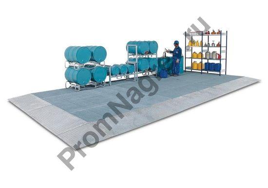 Поддон-платформа для защиты пола, классическая, оцинкованная сталь, со сточной решёткой, с колёсной нагрузкой до 450 кг, 2500x1000x123 мм