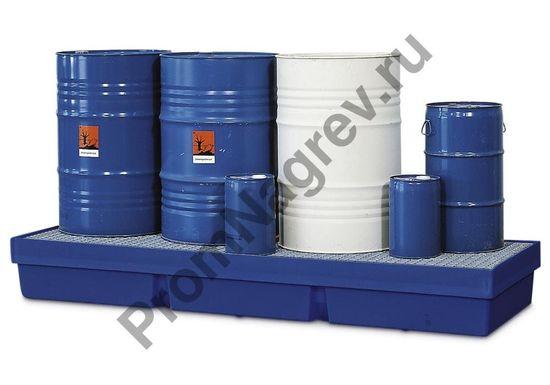 Поддон из экологичного полиэтилена (Poly Safe) на 4 бочки в ряд, стальная решётка.