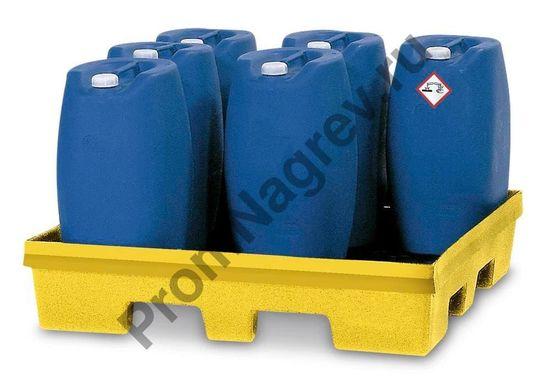 Поддон квадратный, решётки нет, материал - безопасный полиэтилен (PolySafe PSP 2.4), для 1 бочки (200л)