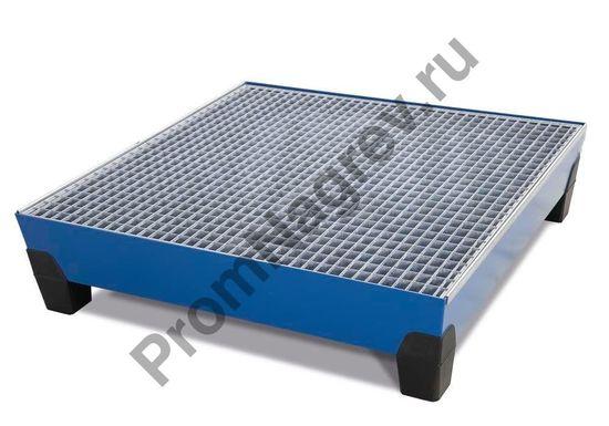 Поддон на 4 бочки, квадратной формы, с пластиковыми ножками и решёткой, VarioTwin