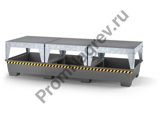 Три фасовочные зоны, ножки, окрашенная сталь, сигнальная линия - оснащение поддона под три еврокуба.