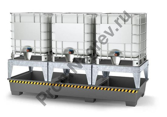 Поддон на три фасовочные зоны, вместимостью 3 евроконтейнера (или 12 бочек) держит тяжёлый груз.