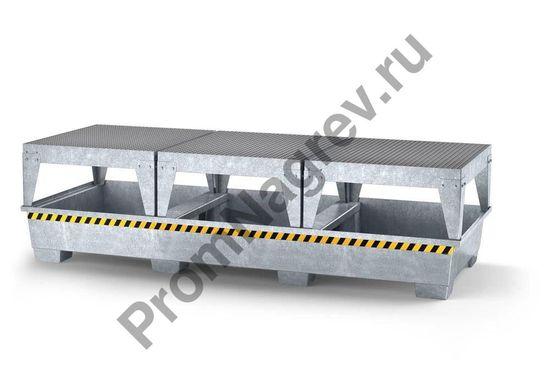 Поддон оцинкованный на три фасовочные зоны, вместимостью 3 евроконтейнера (или 12 бочек).