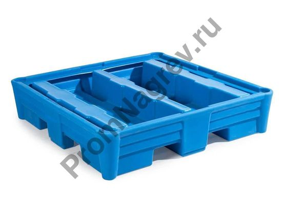 Поддон пластиковый на 4 бочки, решётки нет, 1330x1330x295.
