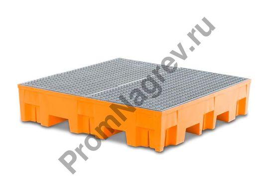 Поддон пластиковый (PE) на 4 бочки со стальной оцинкованной решёткой.
