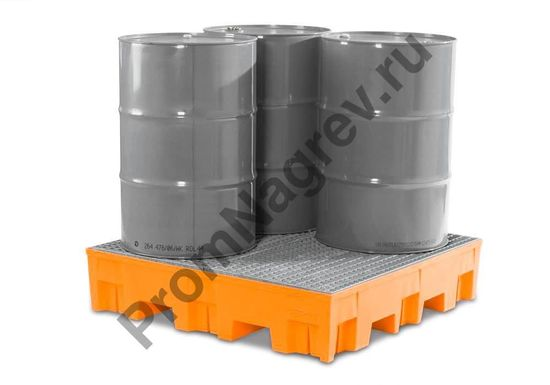 Поддон полиэтиленовый, вместимость четыре бочки, оцинкованная решётка, совместимый с автопогрузчиком.