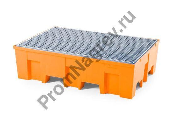 Поддон пластиковый (PE), стальная оцинкованная решётка, под две бочки, базовый.