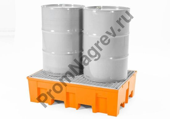 Поддон пластиковый (PE), стальная оцинкованная решётка,  из базовой линии может вместить в себя до двух двухсотлитровых бочек.