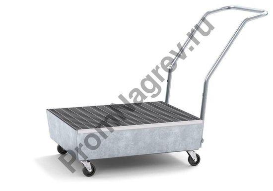 Поддон с цинковым покрытием на 2 бочки (60л), колесики, решётка, профессиональный.