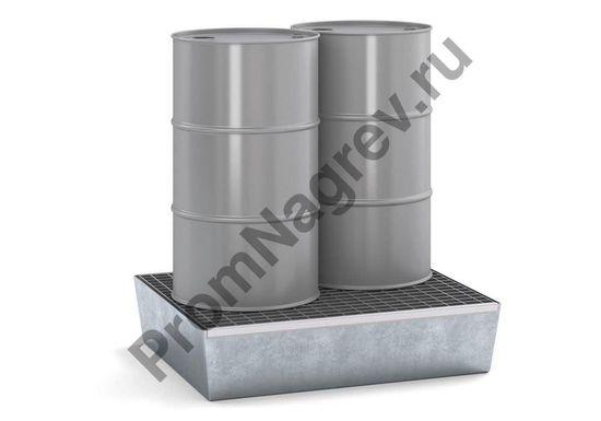 Поддон с решёткой, оцинкованная сталь, на две бочки по 60 литров, на котором стоит груз.