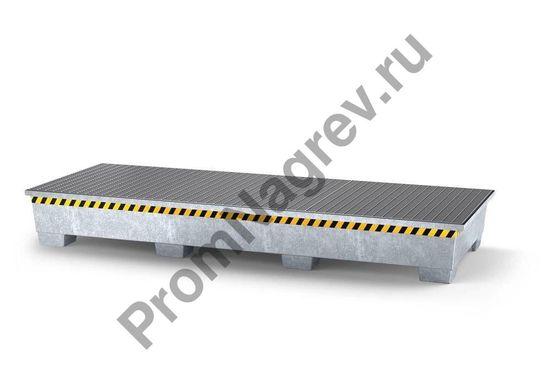 Поддон, оцинкованная сталь, на 3 еврокуба, есть три рёшётки, ножка, сигнальная светоотражающая разметка.