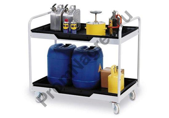Подвижный рабочий стол с 2 поддонами из полиэтилена (PE), объем сбора 2 x 30 литров.