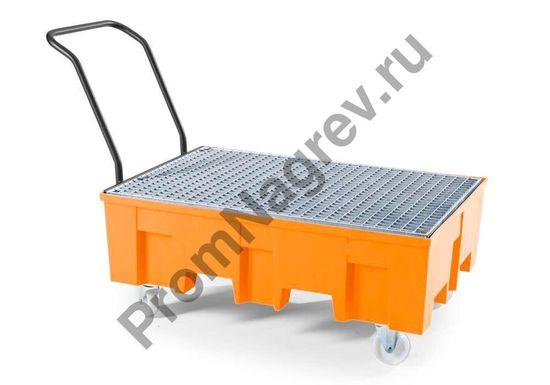 Полиэтиленовый поддон на колёсиках под 2 бочки с оцинкованной решёткой, базовая линия.