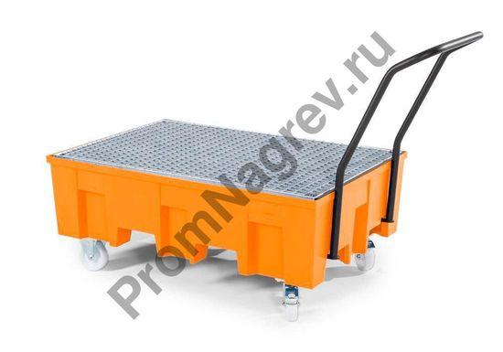 Мобильные колёскии у пластикового передвижного поддона базового, на 2 бочки.