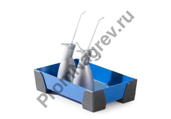 Пятилитровый сточный стальной лоток с пластиковыми уголками, без решётки, 250x400x95.