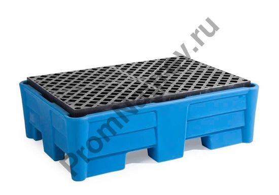 Синтетический поддон с пластиковой решёткой (PE), на две бочки, 1330x930x410.