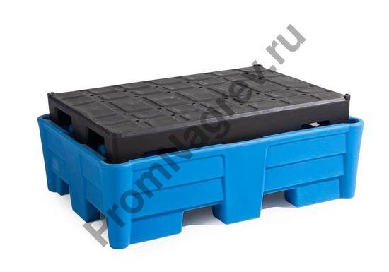 Синтетический поддон с пластиковым паллетом (РЕ) в качестве настила, на две бочки, 1330x930x500