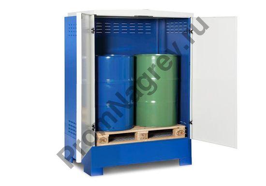Склад для хранения опасных веществ, бело-синий, тип XL-2.2, на 2 двухсотлитровые бочки.