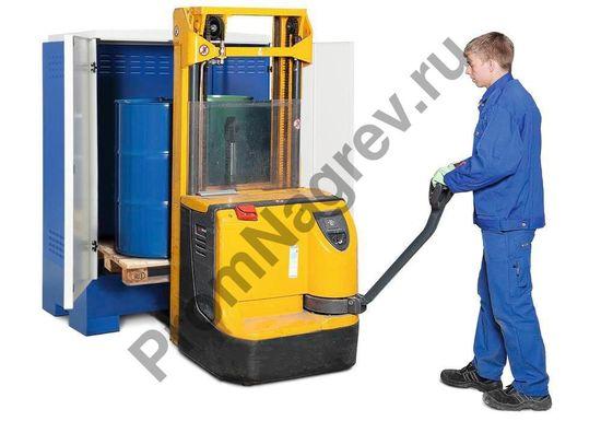Склад для хранения опасных веществ, бело-синий, тип XL-2.2, на 2 двухсотлитровые бочки, транспортировка склада с помощью спецтехники.