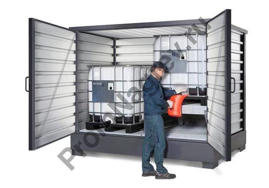 Пример фасовки в складе для хранения дух еврокубов с опасными веществвами.