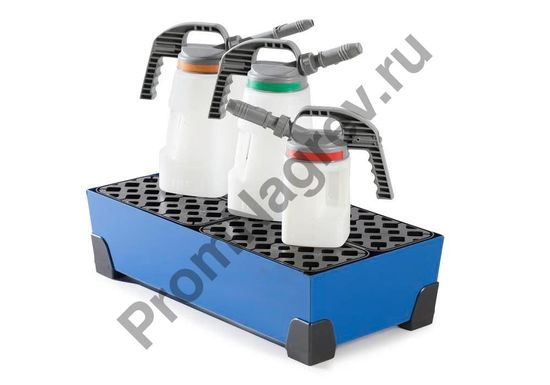 Пример того, как можно расположить мелкую тару на поддоне на 40 литров, ножки и решетка (PE).
