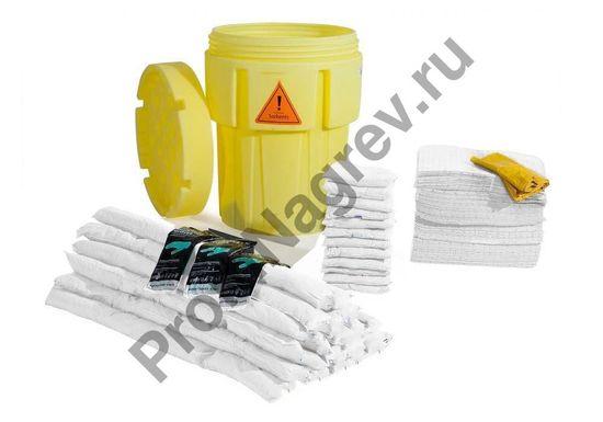 Жёлтая бочка с набором сорбентов для масляных и нефтяных жидкостей (200 ковриков).