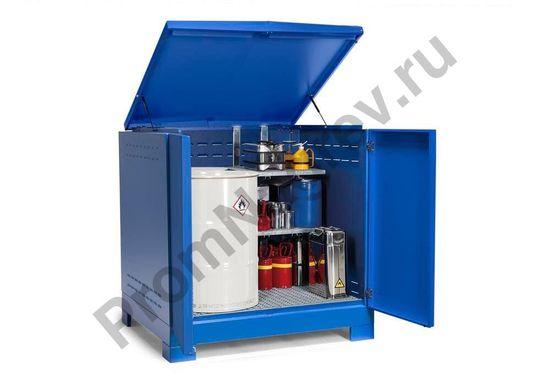 Контейнер-склад для хранения опасных веществ, тип L-4.2 на 4 бочки (200 л), окрашенный, синий