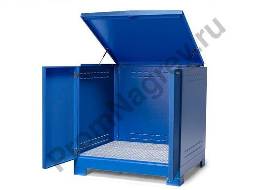 Контейнер-склад для хранения опасных веществ, тип L-4.2 на 4 бочки, оснащён сточным поддоном и сточной решёткой
