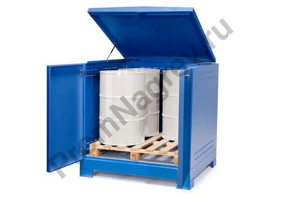 Контейнер-склад для хранения опасных веществ, тип L-4.2 на 4 бочки, крышка и двери могут открываться отдельно