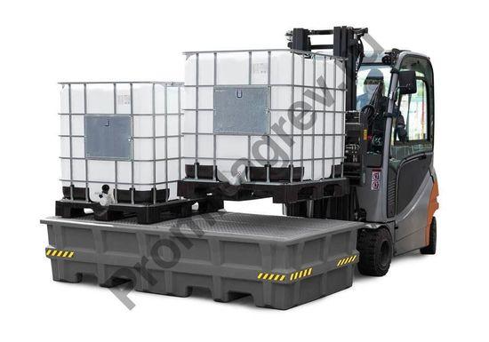 Загрузка-погрузка контейнеров на поддон из серии pro пластиковый на 2 куба.